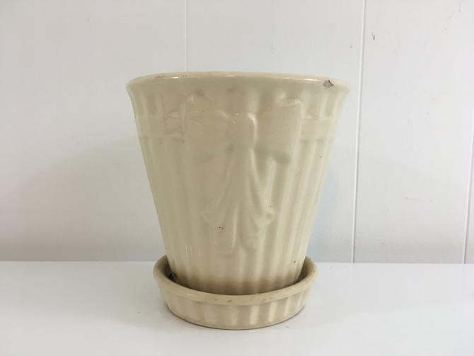 Vintage Brush McCoy White Bow Planter Cream Ribbon Attached Saucer Mid-Century Pottery Pot Made in the USA 1950s by CheckEngineVintage