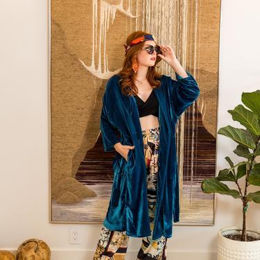 Peacock Silk Velvet Koi Kimono by jennafergrace