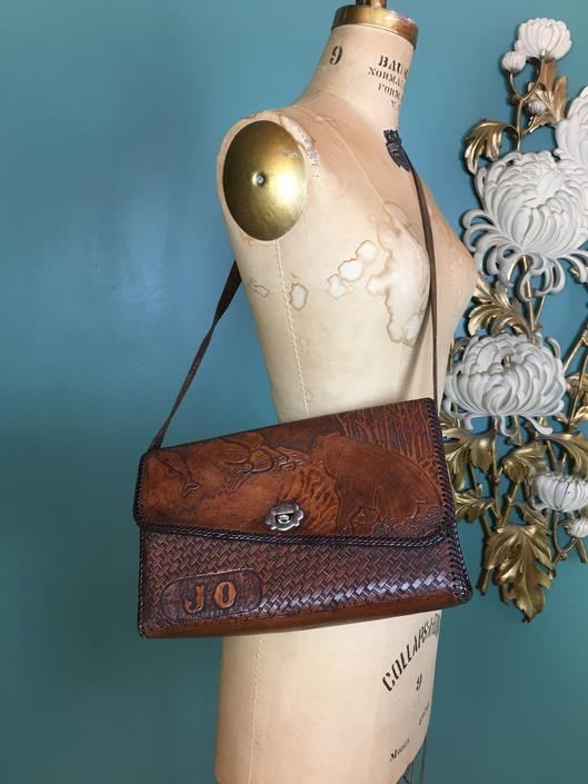 1970s purse, tooled leather, novelty purse, vintage purse, boho style, bears and fish, monogram purse, shoulder bag, name, jo, hippie, pow by BlackLabelVintageWA