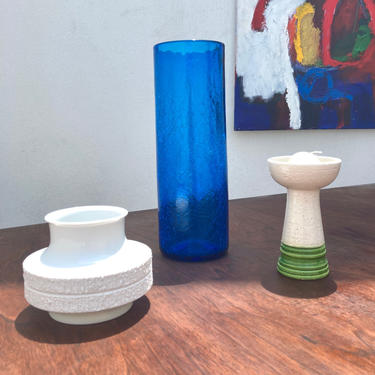 Crackled Blue Cylindrical Glass Blenko Vase