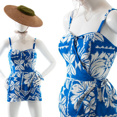 Vintage 1960s Romper   60s PARADISE HAWAII Hawaiian Floral Printed Cotton Blue Sarong Skirt Under Shorts Tiki Playsuit (x-small/small) by BirthdayLifeVintage