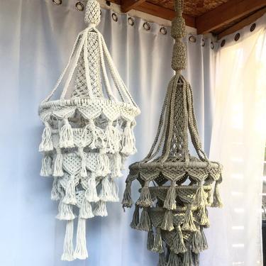Large Teardrop Macrame Chandelier Light Lamp Pendant by TheWickedBoheme
