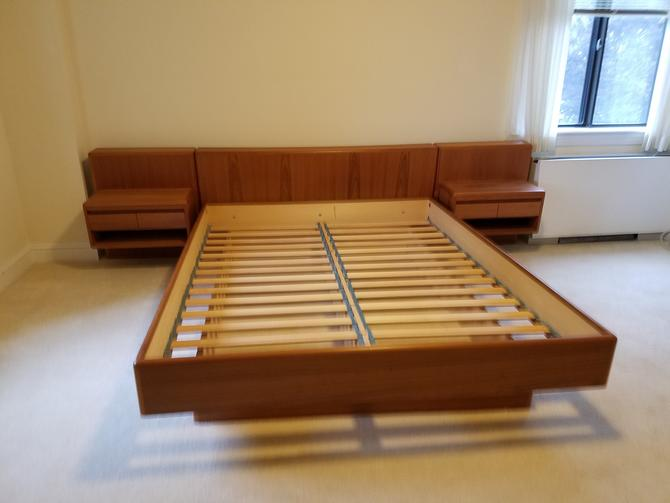 Danish Modern Queen Bed with Attached Nightstands