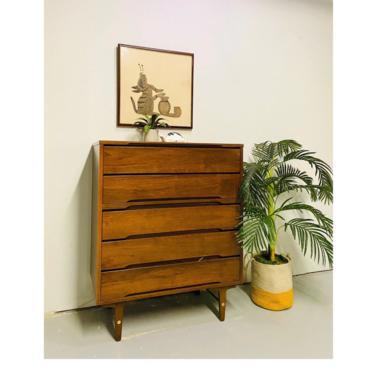 Mid Century Stanley Walnut Five Drawer Tallboy Dresser, MCM Chest of Drawers with Brass Accents, Vintage Walnut Highboy Dresser by VivaLaVintagedotTX