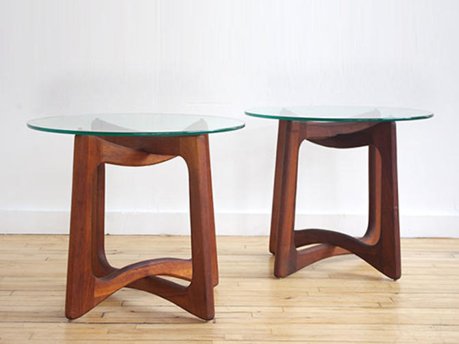 Adrian Pearsall Walnut & Glass Side Tables