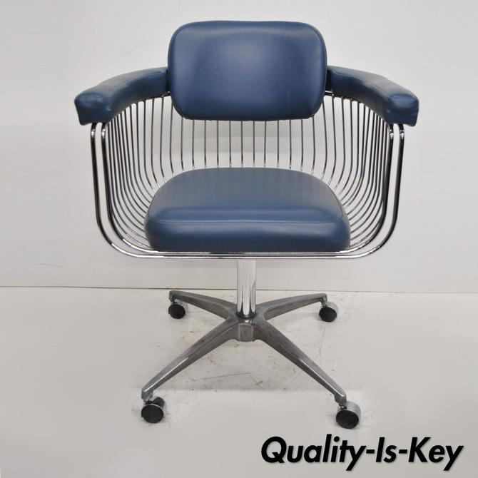 Mid Century Warren Platner Style Chrome & Blue Vinyl Rolling Office Desk Chair