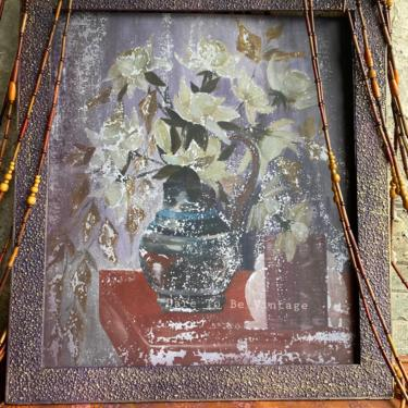 Floral Still Life Art Print Framed ~ Vintage Floral Art  31 X 35 ~ Boho Artwork ~ Still Life Floral Art by DareToBeVintage