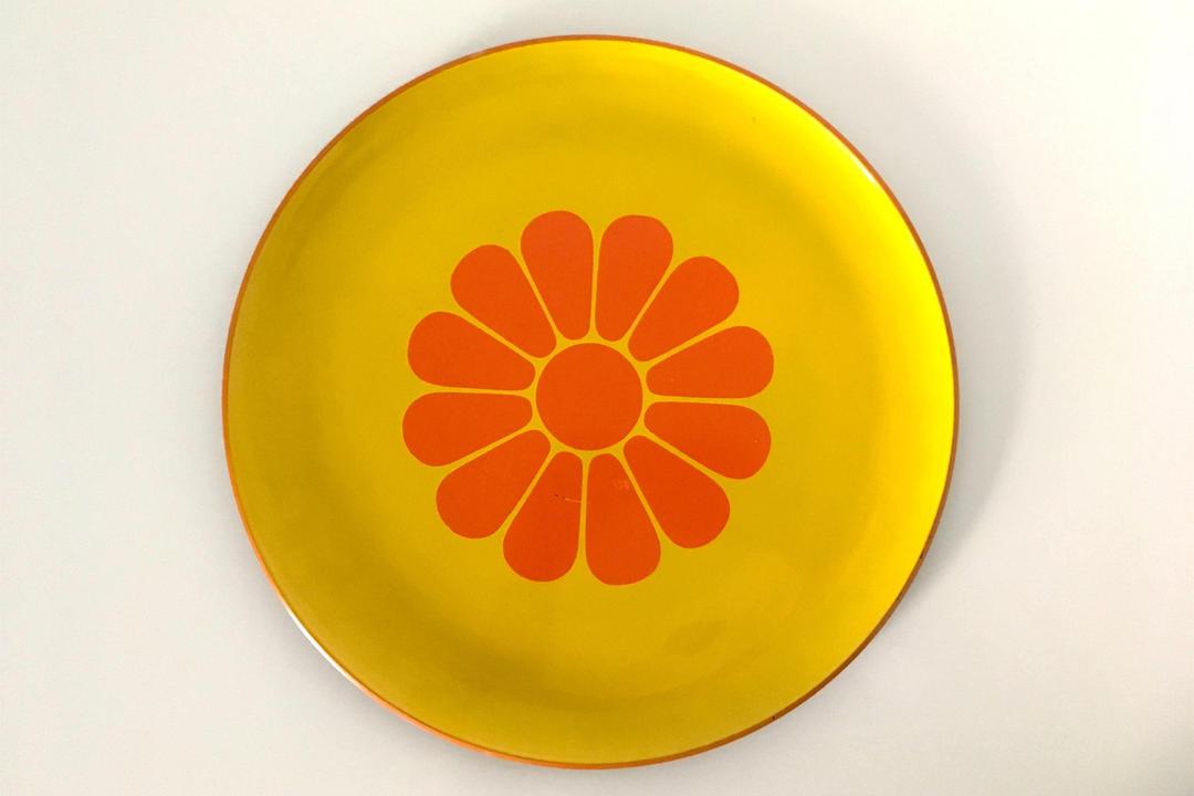 Plastic Flower Plate 1970s Flower Power Mustard Yellow