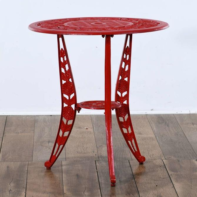 Red Cast Metal Patio Table