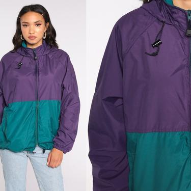 Hooded Jacket Purple Color Block Jacket Green Hoodie Windbreaker Coat Hood 90s Retro 1990s Vintage Wearguard Medium by ShopExile