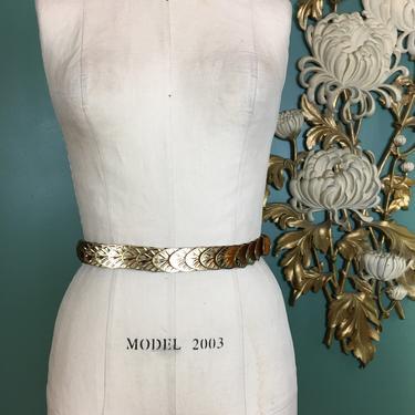 1980s leaf belt, gold stretch belt, leaves belt, vintage belt, metallic belt, small medium, 1980s accessories, stretch metal, 26 27 28 29 by BlackLabelVintageWA