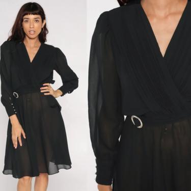 Disco Party Dress Sheer Black Dress Grecian Dress 70s Boho Mini Deep V Neck WRAP High Waist Vintage Puff Sleeve Formal Bohemian Medium by ShopExile