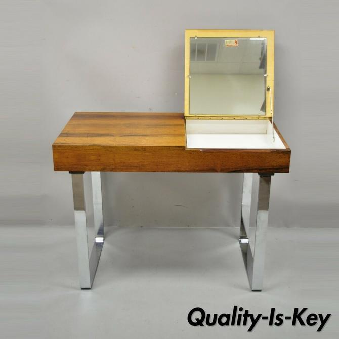 Echtes Kristall Spiegelglas Rosewood Mid Century Danish Mod Chrome Vanity Table