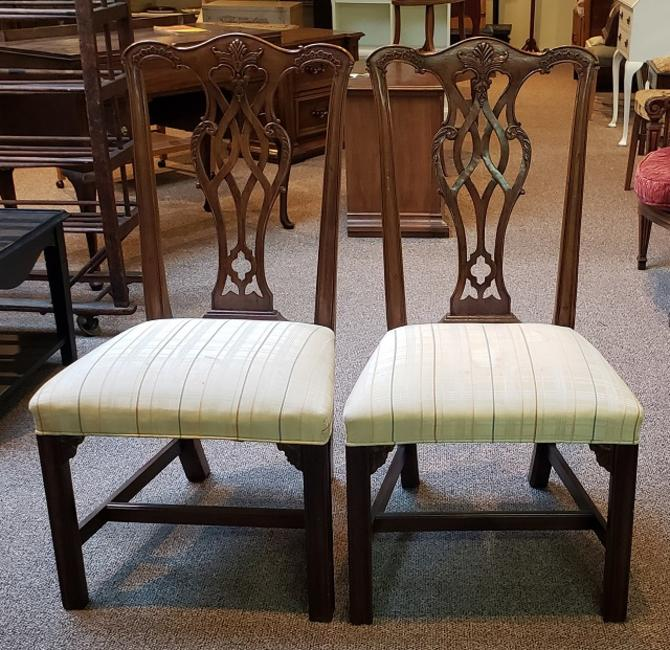 Item #CS Pair of Carved Mahogany Dining Chairs