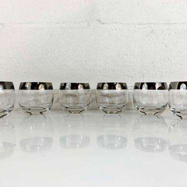 Vintage Silver Band Glasses Dorothy Thorpe Stripe Roly Poly Lowball MCM Mad Men Retro Barware Cocktail Mid-Century Modern Set of 6 by CheckEngineVintage