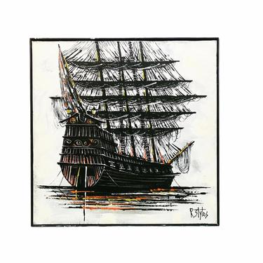 MCM R Styles Abstract Boat Painting by VivaLaVintagedotTX
