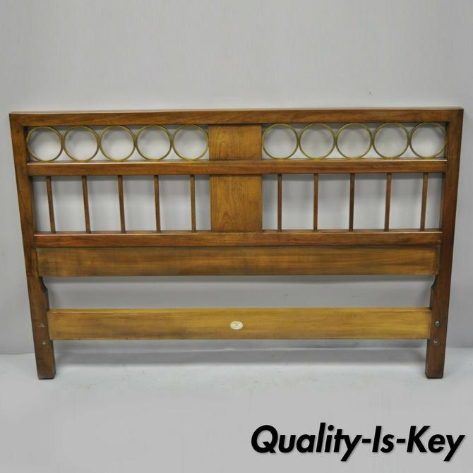 Vintage Baker Regency Style Walnut & Brass Ring Full Size Bed Headboard