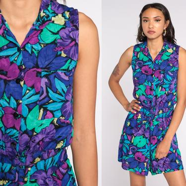 Tropical Floral Romper Playsuit 80s One Piece Jumpsuit Shorts Summer Jungle Button up Sleeveless Purple 1990s Vintage Vacation Medium by ShopExile