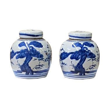 Pair Blue White Small Oriental Scenery Porcelain Ginger Jars ws1376E by GoldenLotusAntiques
