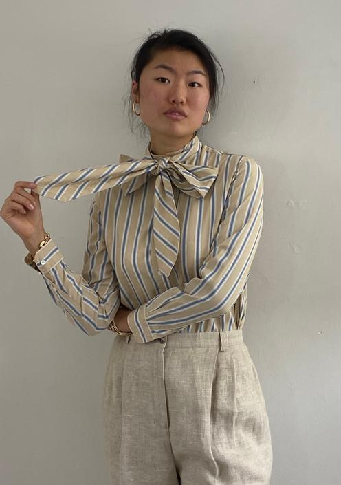 80s Calvin Klein cotton blouse / vintage cotton beige blue pinstripe cotton mandarin collar blouse with ascot pussy bow tie | S by RecapVintageStudio
