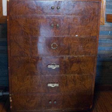 Art Deco Burled Wood 6 Drawer Dresser