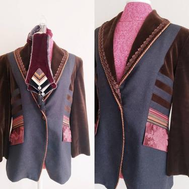 1990s Wool Velvet Silk Blazer with Embroidered Scarf Designer Boutique / 90s Jacket A la Bonne Renommee Artisinal French Fashion / M / Erisa by RareJuleVintage