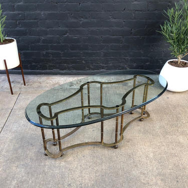 Mid-Century Modern Faux Brass Bamboo Coffee Table with Glass Top by VintageSupplyLA