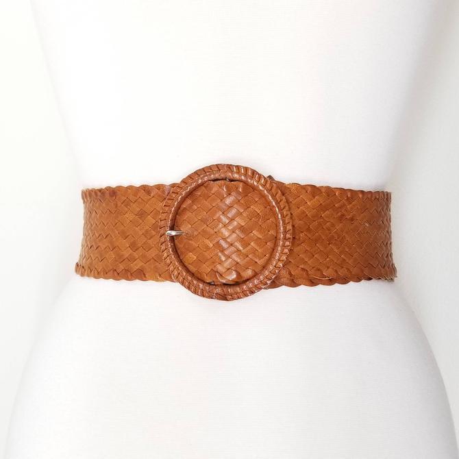 Vintage 80s Braided Leather Belt, Medium / Wide Brown Leather Belt / Woven Leather Belt / Calf Skin Braided Belt / Vintage Accessories by SoughtClothier