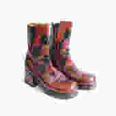 Vintage 70's Platform Leather Boots/ Brown GoGo Ankle Boots/ Patchwork Glam Rock n Roll Hippie/ Size 9 by bottleofbread