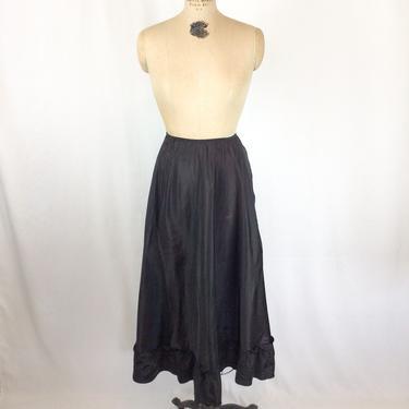 Vintage 50s Petticoat | Vintage black ruffled under skirt | 1950s black taffeta half slip by BeeandMason