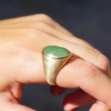 Vintage 14K Gold Green Aventurine Ring, Solid Gold Ring With Aventurine Gemstone, Unique Gold Ring With Green Stone, Size 8 US Gold Ring by shopGoodsVintage