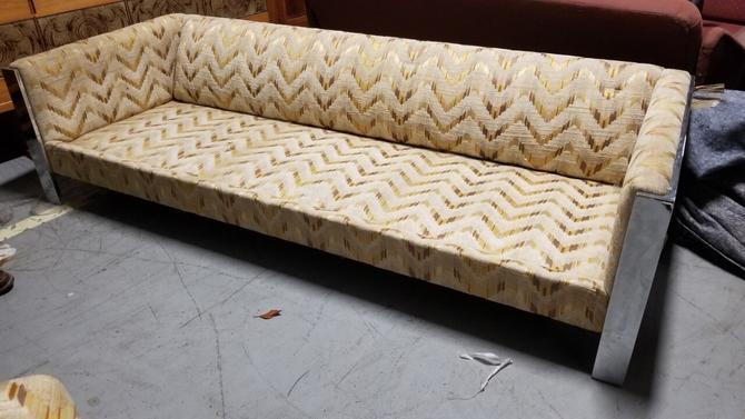 Mid Century Milo Baughman Styled Chrome Framed 3 Seat Sofa by Selig