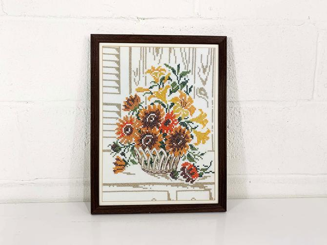 Vintage Floral Needlepoint Framed 1970s 70s Autumn Fall Wall Hanging Kitschy Nursery Kids Room Basket Flowers Flower Handmade Baby Shower by CheckEngineVintage