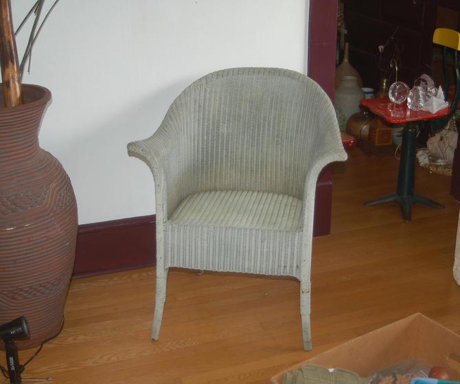 Lloyd Loom Lusty Product Style Wicker Arm Chair, Lloyd Flanders Style Wicker Boudoir / Solarium Dusty Blue Arm Chair ~ One English Owner by YesterdayAndTomorrow