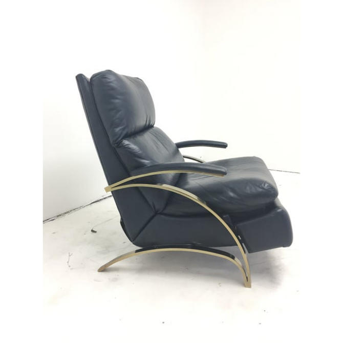 1980s Navy Blue Leather and Brass Recliner by VintageOnPoint