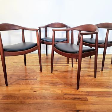 "Mid Century Set of Four Hans J. Wegner for Johannes Hansen Dining Chairs, JH-503 ""The Chair"" by ProRefineFurnishings"