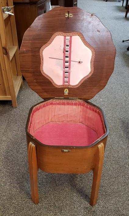 Item #Q122 Vintage Walnut Sewing Box c.1940