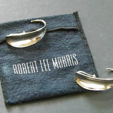 Vtg 1990 Robert Lee Morris Sterling Silver Earrings Geometric Minimalist Jewelry Signed Original w Pouch by eClectricityVintage
