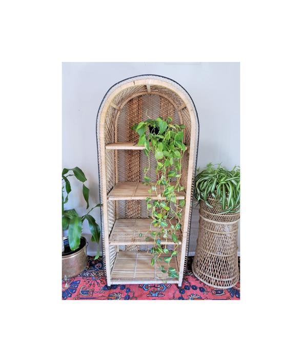 FREE SHIPPING! Vintage Rattan Shelf | Boho Arched Wicker Etagere | MCM Dome Bookshelf | Bohemian Shelving Bookcase by SavageCactusCo