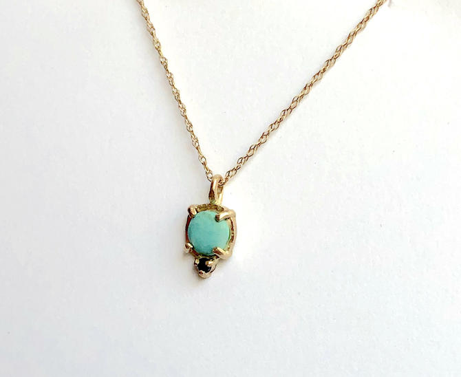 Dainty 14k Gold Turquoise and Black Diamond Pendant Handmade Small Gemstone Charm Necklace by RachelPfefferDesigns