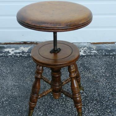 Early 1900s Glass Ball and Claw Feet Piano Stool 2414