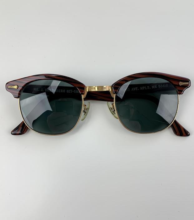 Vintage Brownline Sunglasses - Gold Plated Metal - Dark Wood Grain Printed Frame - UV Glass Lenses by GabrielasVintage