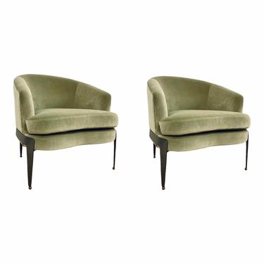 Modern Sage Green Velvet Curved Back Club Chairs - a Pair