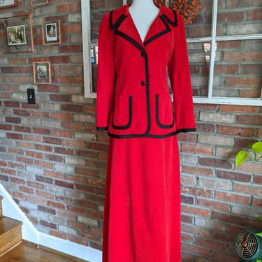 Vintage 1970's Young Dimensions by Saks Fifth Avenue Red Maxi Skirt Suit Set w/black details by BeesKneesVintageDC