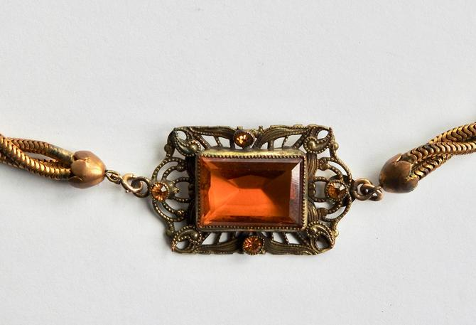 1930s Open Set Gold Bevelled Glass Necklace by LegendaryBeast