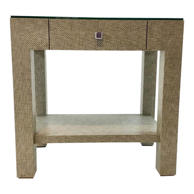 Modern Bungalow 5 Valentina Grasscloth One Drawer Side Table