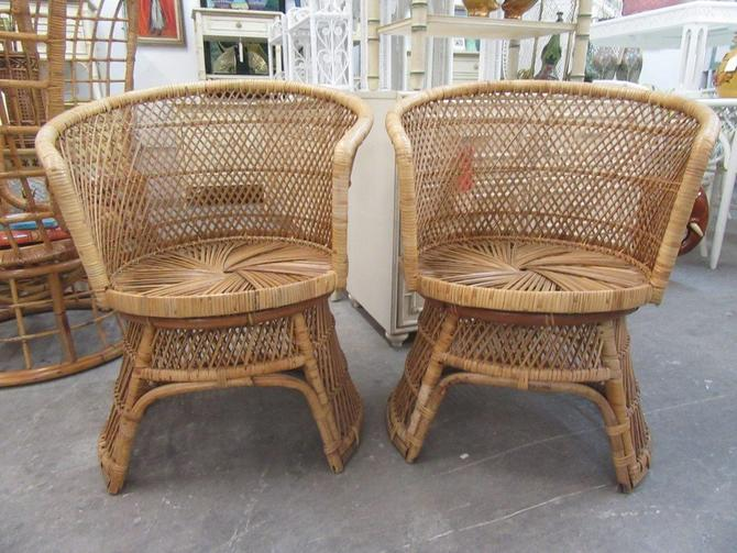 Pair of Island Style Barrel Chairs