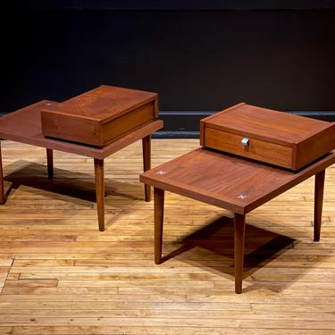 Refinished Pair of American of Martinsville Walnut Nightstands Two Tier End Tables by Merton Gershun - Mid Century Modern Danish Style by MidMod414