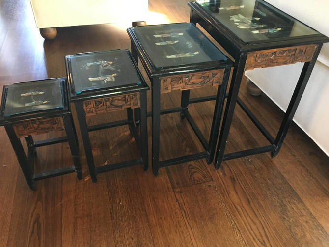 VINTAGE Oriental Nesting Tables//  Mother of Pearl Hand Carved Wood Nesting Tables, Chinioserie Decor by 3GirlsAntiques