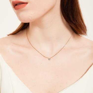 gemma S925 solid silver/gold round Bezel CZ Necklace Delicate CZ Necklace Tiny Diamond Pendant Gold CZ Solitaire Necklace Layering Necklace by MelangeBlancDesigns